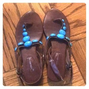 Jeffrey Campbell brown and turquoise stone sandals